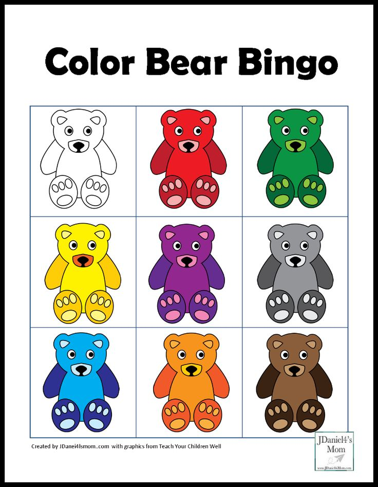 Color Games for Kids with a Bear Theme Bingo Card With