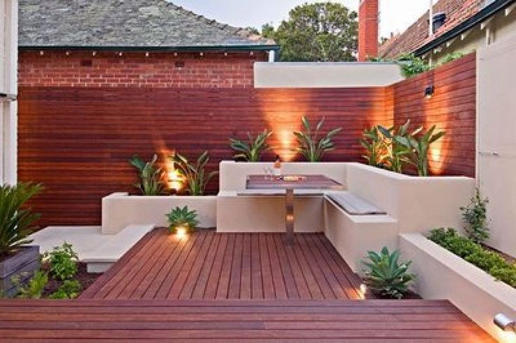 Jardinera con banco incorporado exteriores y piscinas pinterest ideas for Patios y jardines
