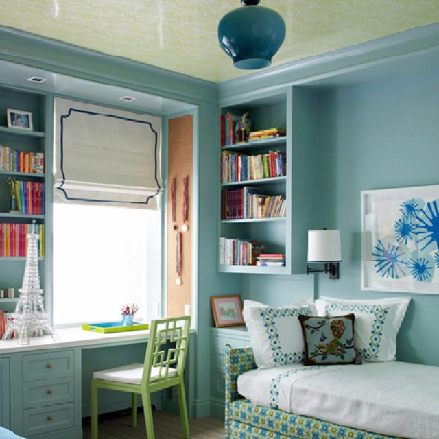 Blue Room With Glossy Golden Ceiling Guest Bedroom And Office In One By