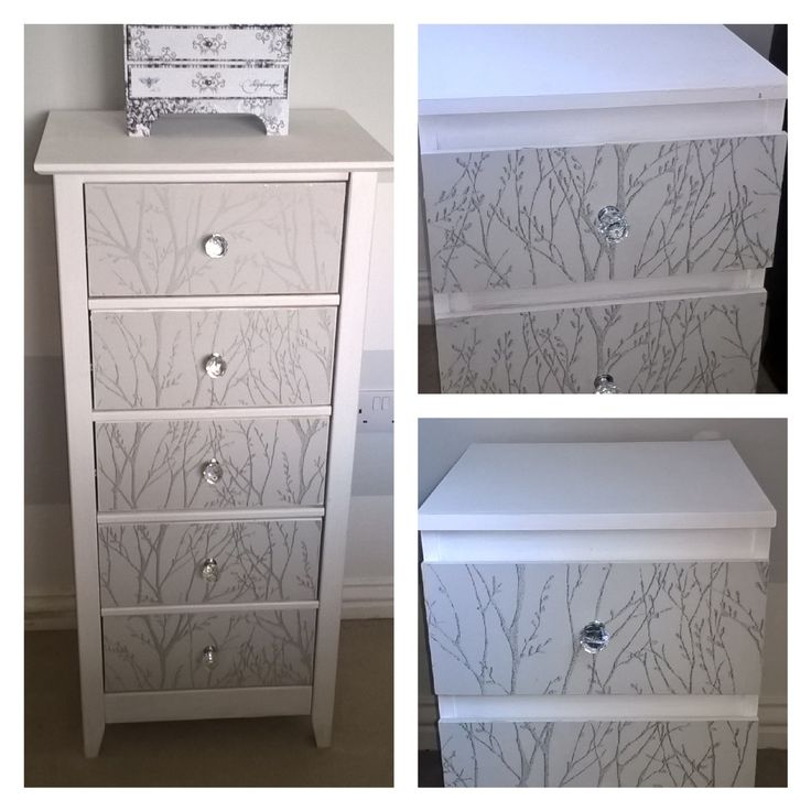 my old oak ikea draws, were oak, painted and wallpapered, and matching chest of draws!!