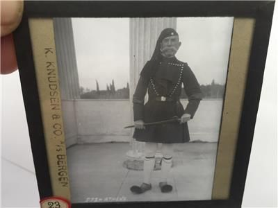 1900s Magic Lantern Slide showing a greek Guard in Athens Greece