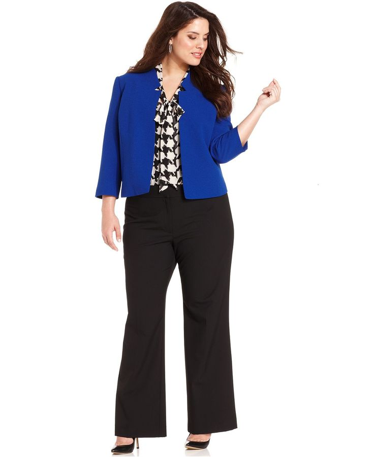 Tahari by ASL Plus Size Cropped Jacket, Tie-Frount Houndstooth Top & Stretch Trousers - Plus Size Suits & Separates - Plus Sizes - Macy's