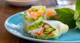 Shrimp and Mint Summer Rolls with Spicy Peanut Sauce | Appetizers ...