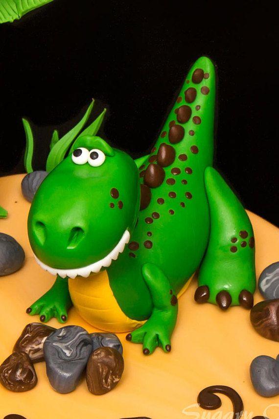Adorno de torta de dinosaurios 3D fondant ambiente