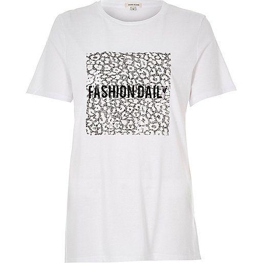 Wit T-shirt met Fashion Daily-print van lovertjes - T-shirts met print / hemdjes - t-shirts/hemdjes - dames