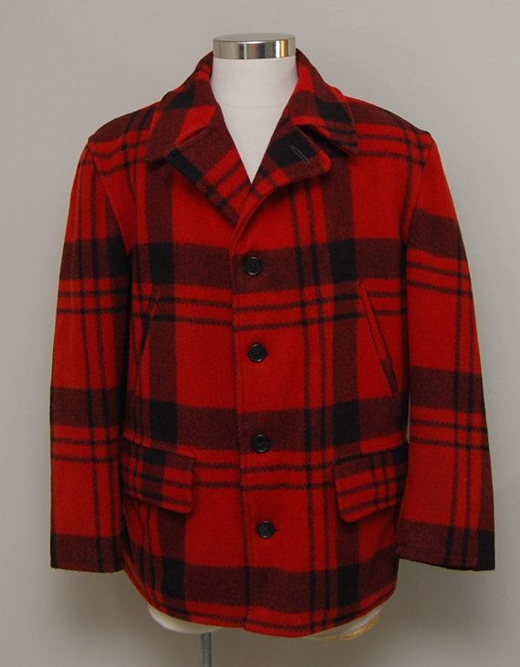 SALE Vintage men's red buffalo plaid wool hunting coat/ by LivedIn