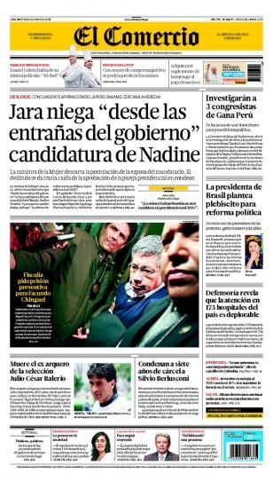 MARTES 25 de JUNIO de 2013  (PORTADA DE EL COMERCIO)