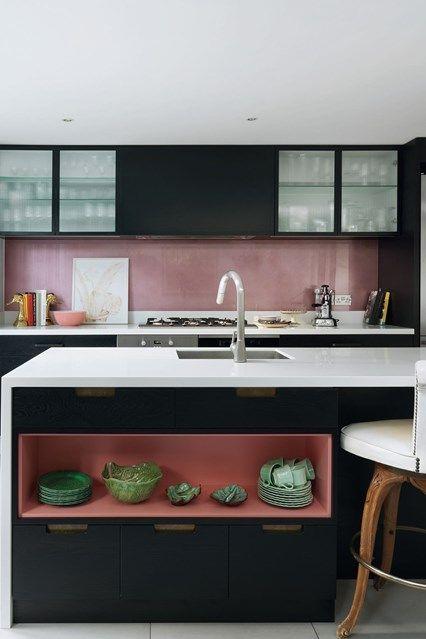 Small Pink Black Kitchen | Modern Kitchen Design Ideas. Custom-made modern kitchen design idea with coloured splash back and open shelves.