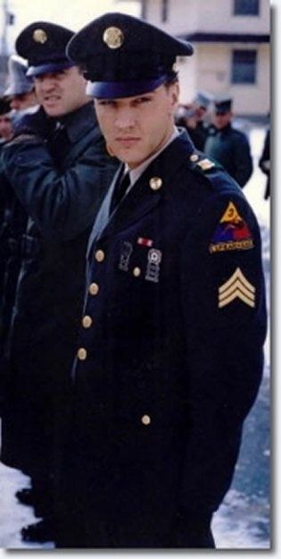This is a photo of Elvis while he served in the Army in Europe.  I know it is authentic, because he is wearing his 3rd Armor Division patch.  Elvis was stationed near Kirch Goens, a small village in central Germany that was off limits to most of the GIs serving there.  Elvis' mother lived for a time in an apartment in town, where Elvis visited her every night.