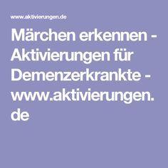 Märchen erkennen - Aktivierungen für Demenzerkrankte - www.aktivierungen.de