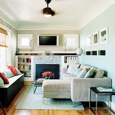 good way to decorate a small living room: Ideas, Interior, Livingrooms, Room Layout, Small Living Rooms, Wall Color, Small Spaces