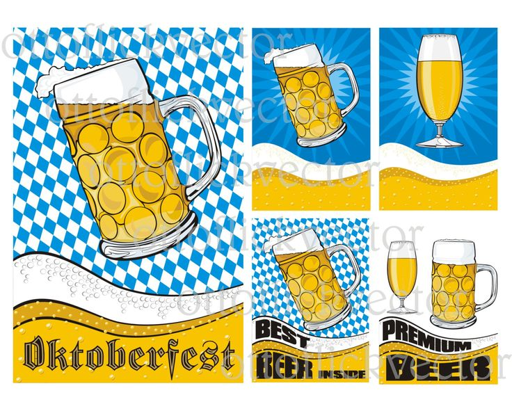 BEER VECTOR CLIPART, Octoberfest mug glass pint beer poster, baner eps, ai, cdr, png, jpg, Beer Party, beer fest, beer commercial by ottoflickvector on Etsy