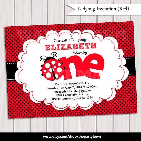 Ladybug Invitation / Ladybug Invite / Cute Ladybug by ThePartyTown, $10.00