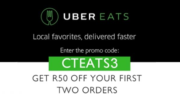 Get R50 OFF the first 2 orders with Uber Eats! Promo Code: CTEATS3 #ad