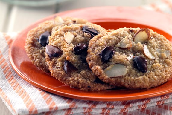 Double Almond Chocolate Chip Cookies on http://www.elanaspantry.com