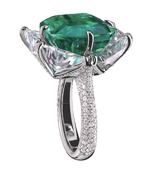 An emerald and diamond ring by Forms Jewellery. @formsjewellery
