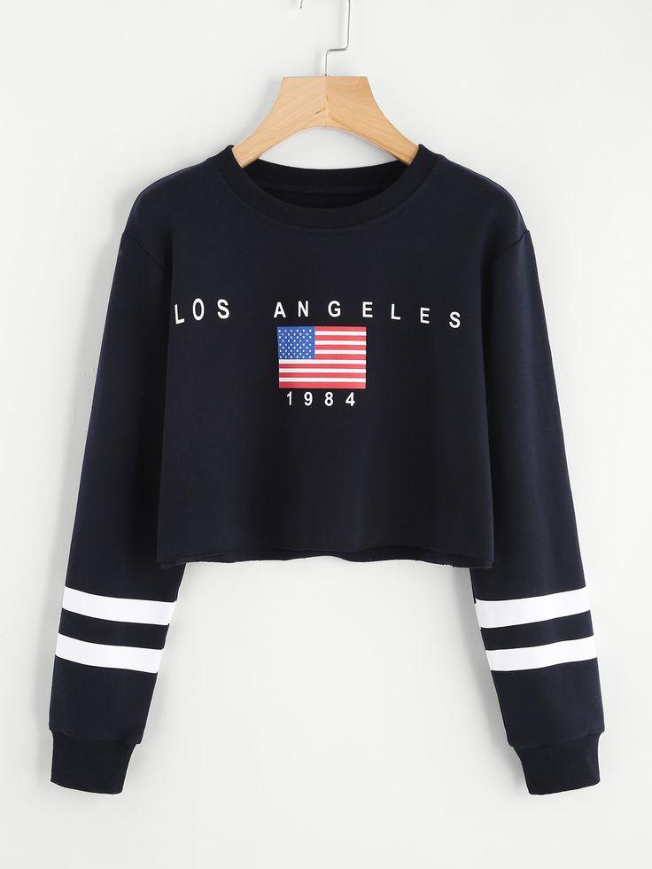 Sweat-shirt courtroom imprimé drapeau américain