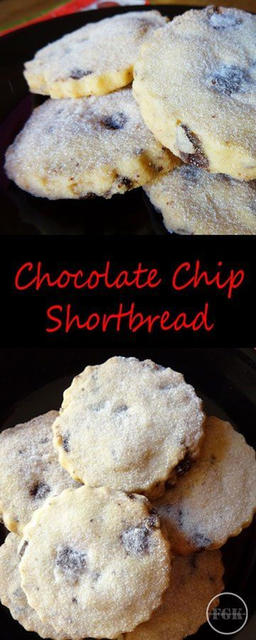 These simple Chocolate Chip shortbread cookies are simple to make and so good #shortbread #cookie