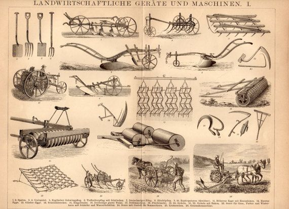 1885 Farming Tools and Machinery Antique Print, Gardening, Planting, Agricultural, Field, Seeds, Agriculture, Land, Plough, Plantation