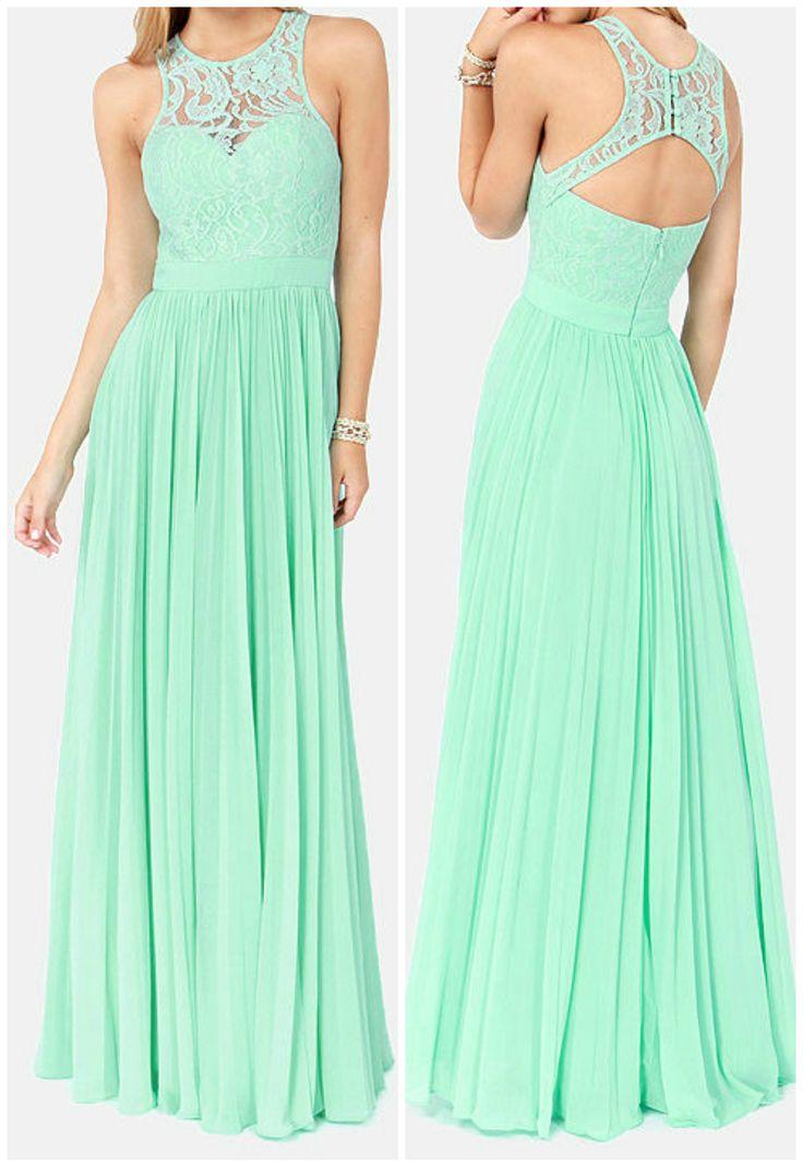 Vestido largo, verde menta