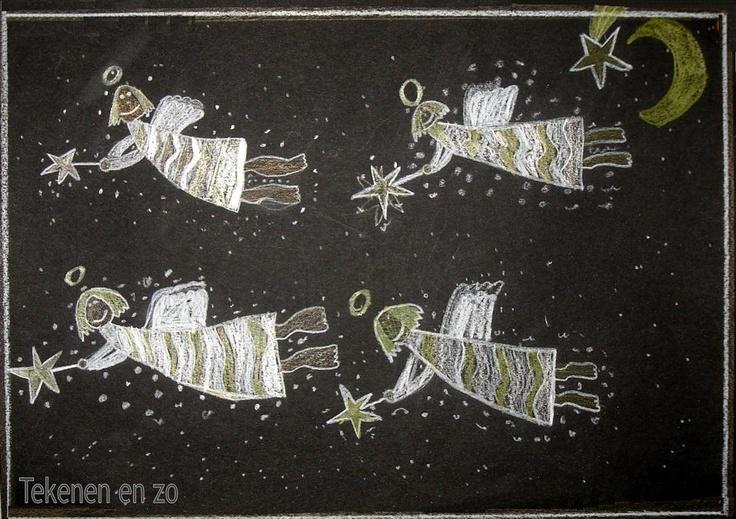 kerstengeltjes, gemaakt van wit, goud en zilver potlood