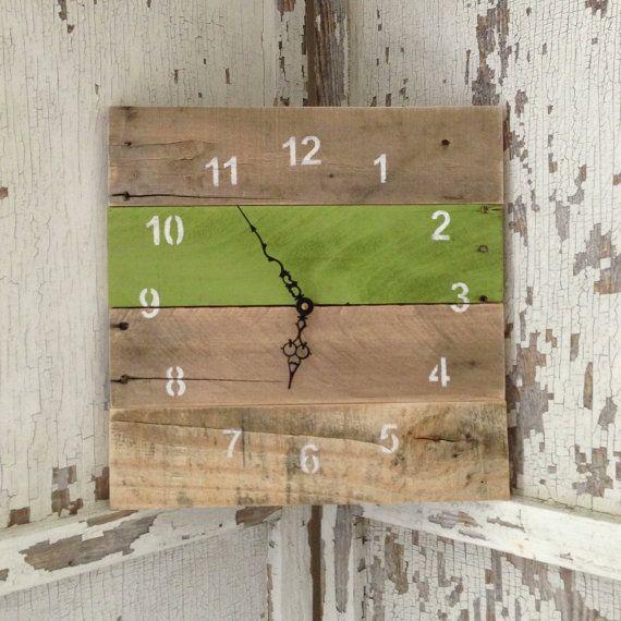 Reclaimed Pallet Wood Wall Clock 10 Color by fieldtreasuredesigns-$45