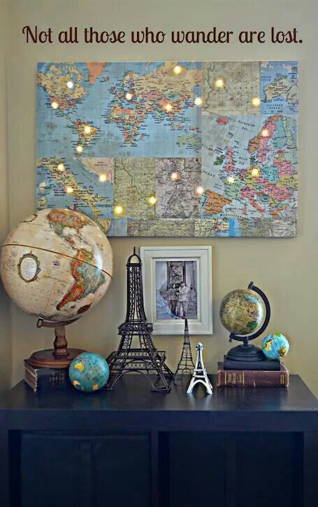 Not all those who wander are lost Decor map with lights on places you've been/lived