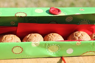 An empty saran wrap or foil box is the PERFECT size for a nice row of mini muffins!