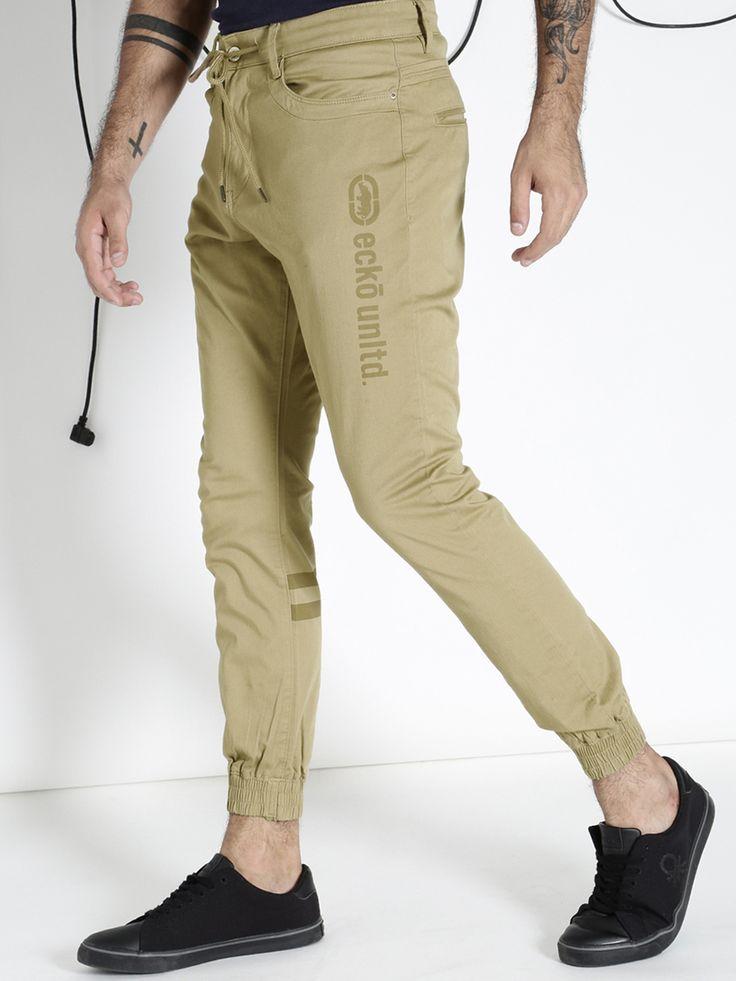 Ecko unltd men beige slim fit solid jogger trousers with