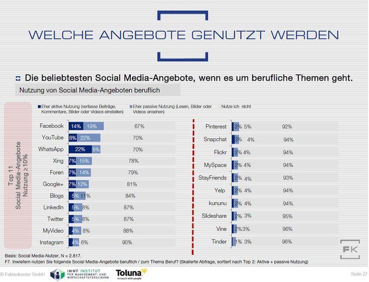 Berufliche meist genutzte Social-Media-Angebote