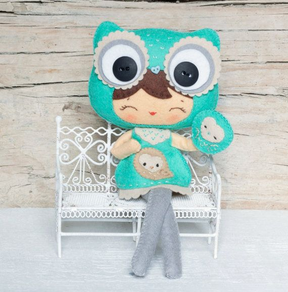 Inspiration - Owl girl with puppet Plush Doll Pattern Softie by Noialand