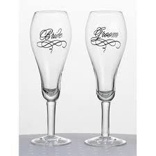 Lillian Rose Collection bride and groom glasses. Sold at Second I Do's