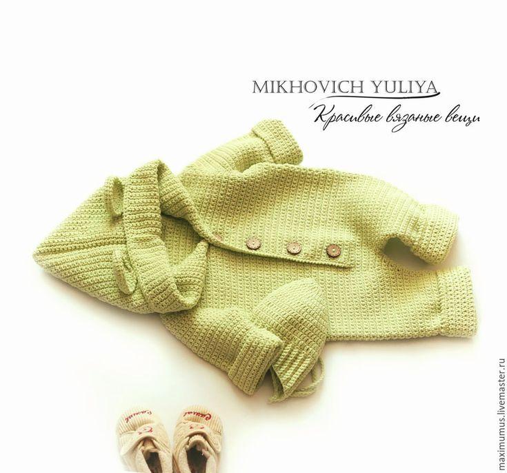 Купить Комбинезон и шапочка для новорожденного - салатовый, комбинезон летний, комбинезон вязаный, вязаный комбинезон