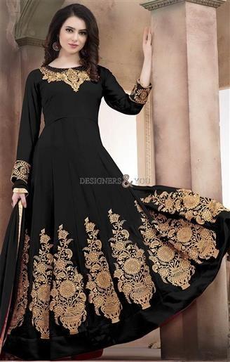 261aa1fe8b #Buy Traffic Stopper Onyx Black #Georgette #Floor_Length #Anarkali #Suit.  This