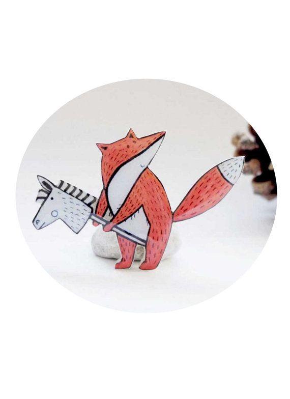 Cute Fox brooch Fox jewelry FREE SHIPPING Animal by Dinabijushop