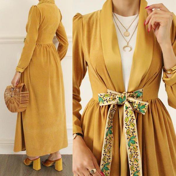 مانتو دخترانه مجلسی اپل دار Muslim Fashion Dress Hijab Fashion Abayas Fashion