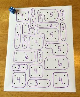 Ways to use door paper beyond the typical dots and boxes! 1. Roll and encircle that many dots. 2. Play with 2 players and each does this. 3. Put words inside the boxes that kids must copy when they complete that box. And she lists more ways as well.