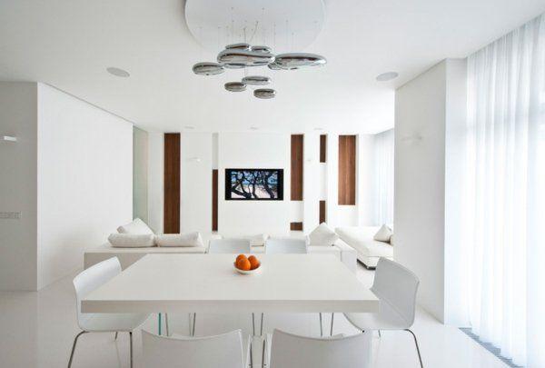 salle manger salon moderne design blanc lustre métallique