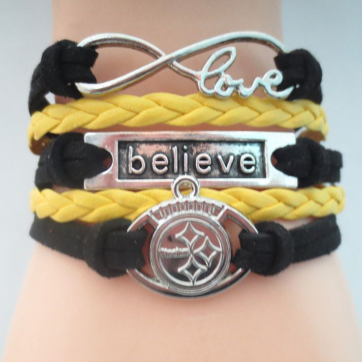 Infinity Love Pittsburgh Steelers Football - Show off your teams colors! Cutest Love Pittsburgh Steelers Bracelet on the Planet! Don't miss our Special Sales Event. Many teams available. www.DilyDalee.co