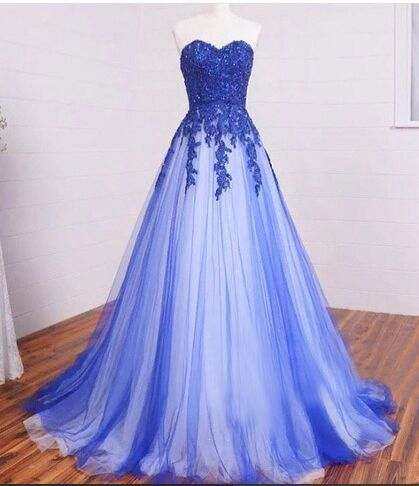 Pretty Sweetheart Prom Dresses,Long A-line Prom Gowns,Lace Up Blue Prom Dress for Teens,Modest Prom Dress,Cheap Handmade Party Prom Dresses