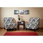 Cypress Conversation Set  from Costco. consider just two chairs in front of fireplace with nesting tables, perhaps a pretty black Asian sofa table behind them to frame it in.  While rugs are wanted consider a bright Asian red inspired area rug in front for drama.