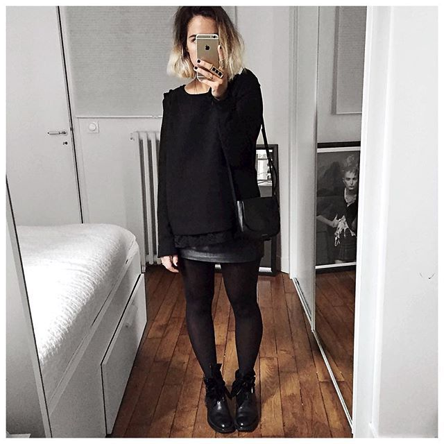 ⚫️ • Top #bashparis (old) • Péplum Top #mademoiselled (old) • Leather Skirt…