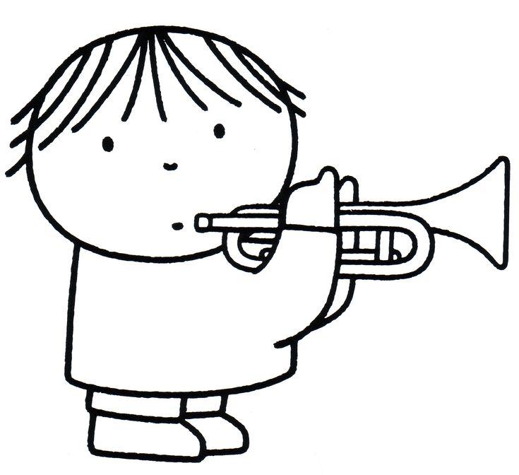 Dick Bruna kleurplaat trompet muziek. Coloring trumpet music.