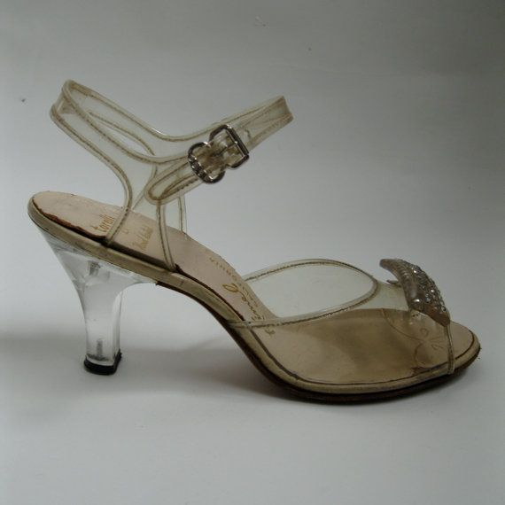 Vintage 1950s Lucite Wedding Shoes Carved by unionmadebride, $95.00