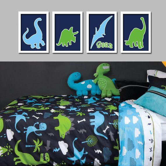 Custom Personalized Name Dinosaur Boy Print Artwork Set of 4 Prints WALL Baby Decor ART Crib NURSERY Picture Nature