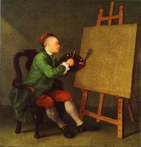 Self-Portrait ~ Painting the Comic Muse ~ William Hogarth