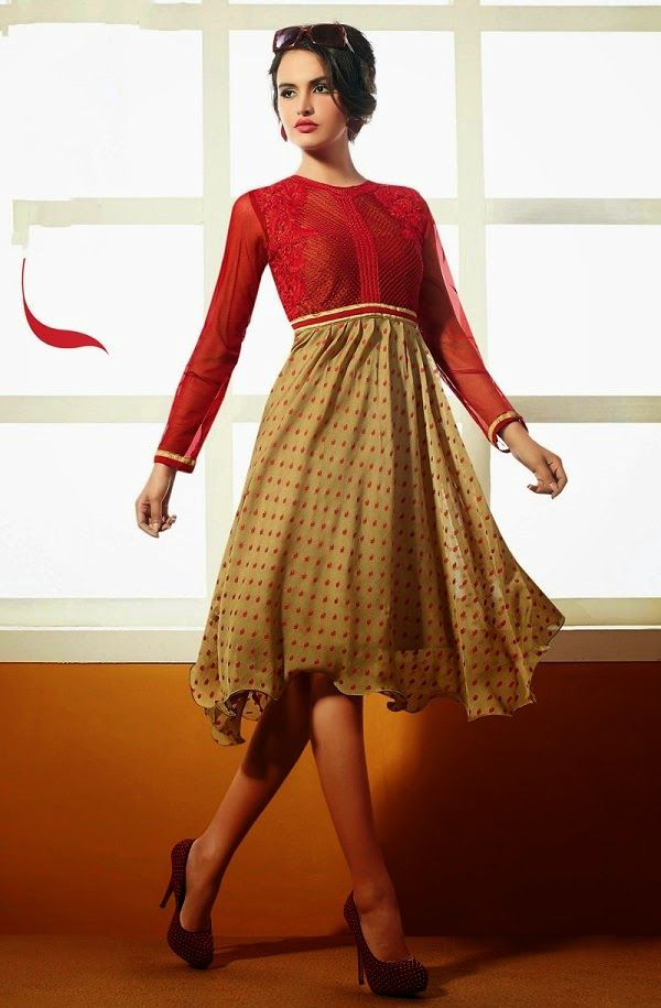 Melodic Viscose Georgette Kurti. The kurti is beautified with red color floral resham work.