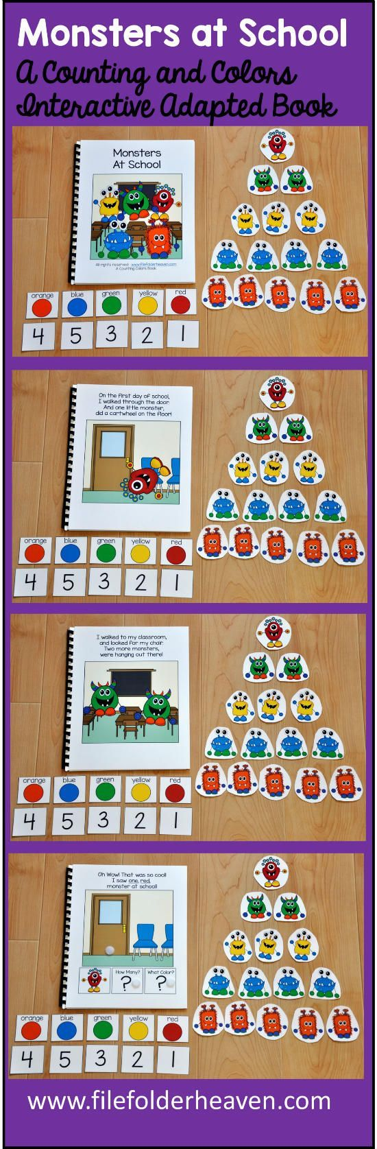 "The ""Monsters at School"" Adapted Book is a fun book to use during the beginning of the school year as a back to school activity, or during October as a Halloween activity. This adapted book focuses on numbers (or counting) and colors. It specifically focuses on the numbers 1-5, and the colors: red, blue, orange, yellow and green. In this activity, the teacher or therapist reads the story to a small group of students as students follow along, and place the correct number of monsters on each…"