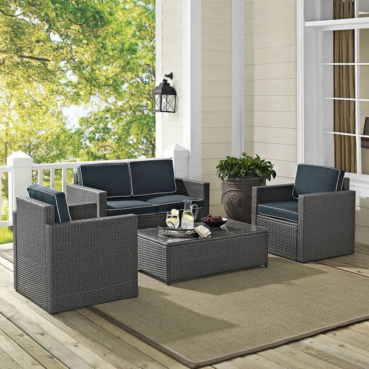 Palm Harbor Faux Wicker Loveseat Seating 4-piece Set ...