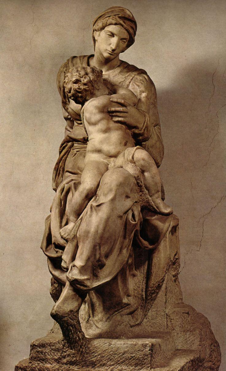 """Michelangelo Buonarroti (Caprese 1475 – Roma 1564), """"Madonna Medici""""1521-1534. StatuaMarmo226 (h)Italia FirenzeBasilica di San Lorenzo, Sagrestia Nuova. Attribuzione certa"""